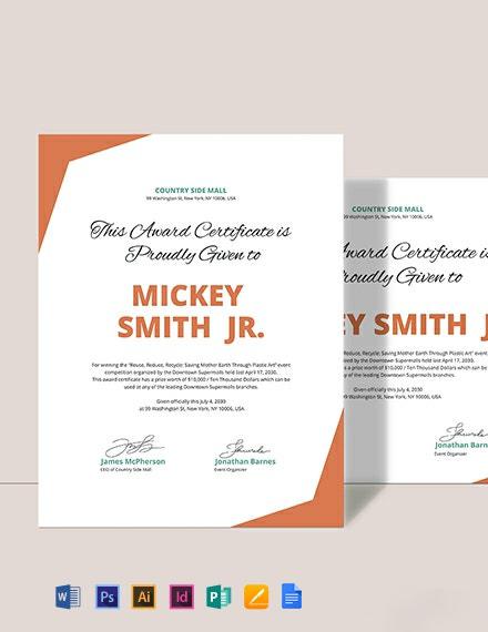 Simple Winner Certificate Template