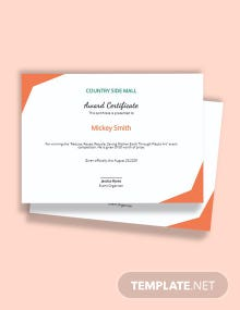 Simple Winner Certificate Template