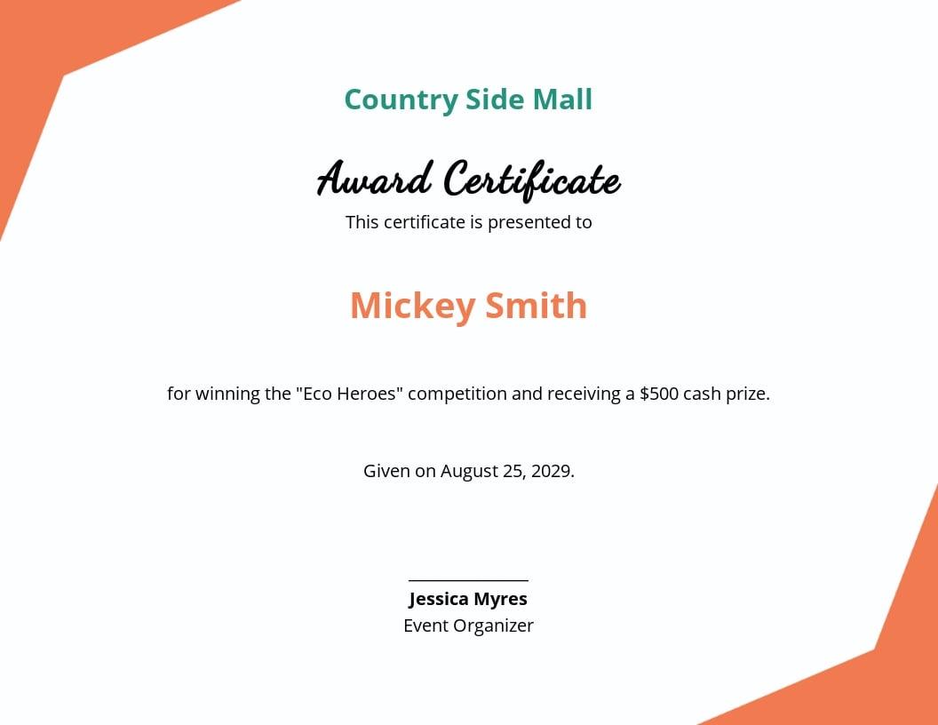 certificate template winner simple pro google publisher word docs psd