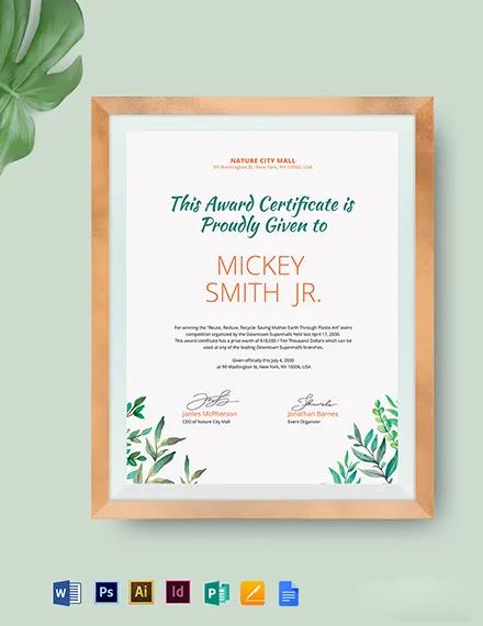 Modern Winner Certificate Template