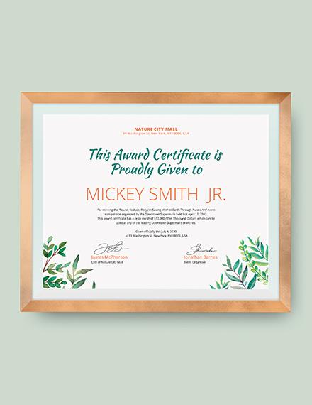 Modern Winner Certificate Download
