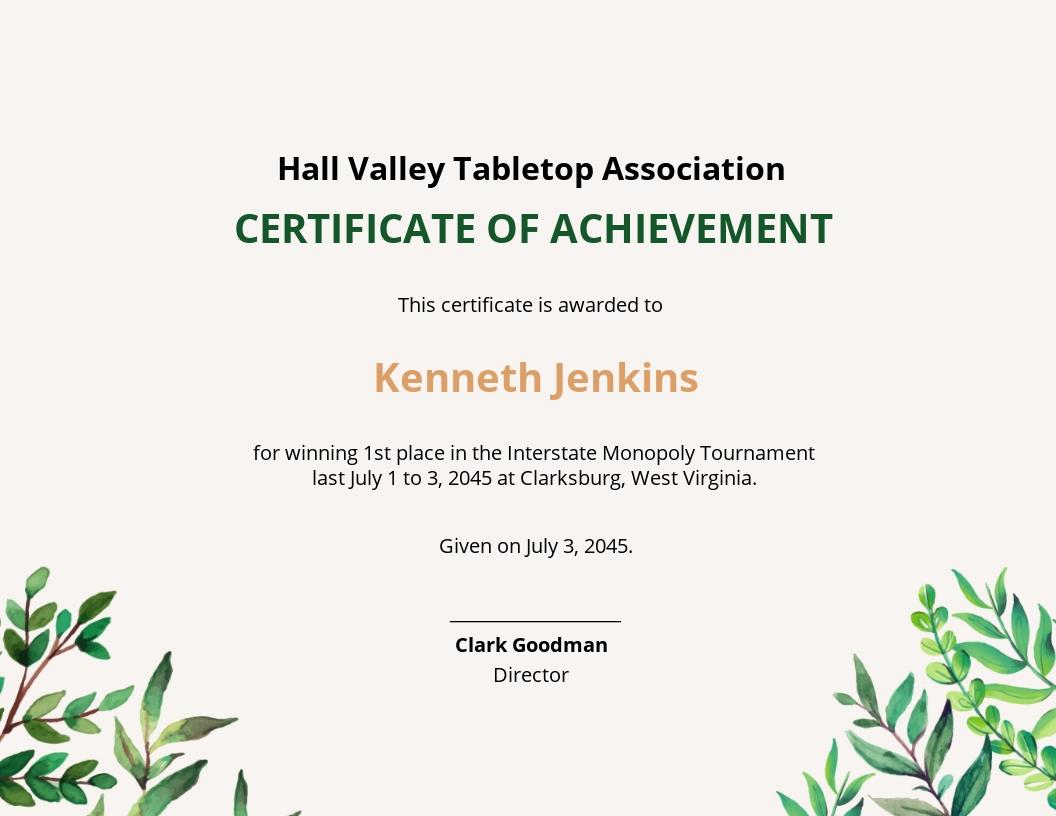 template certificate winner word