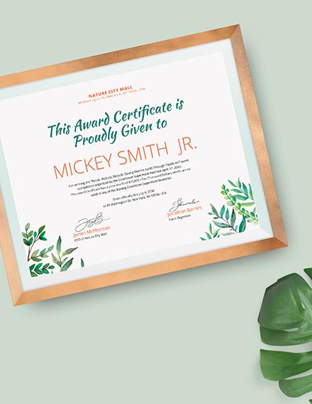 Sample Modern Winner Certificate