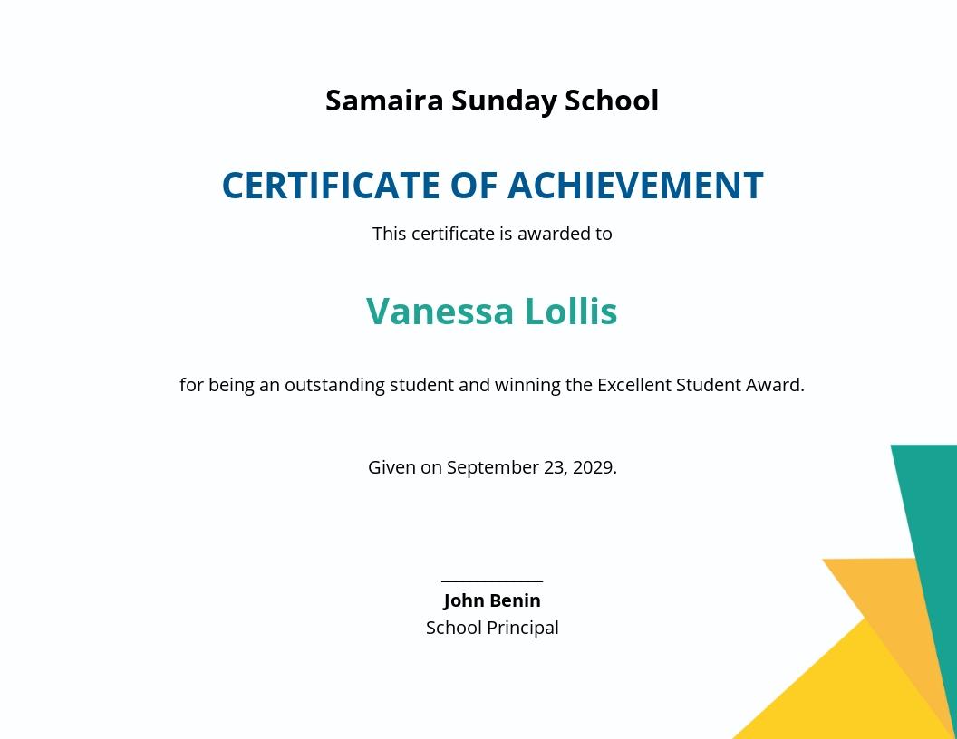 Sunday School Certificate Template