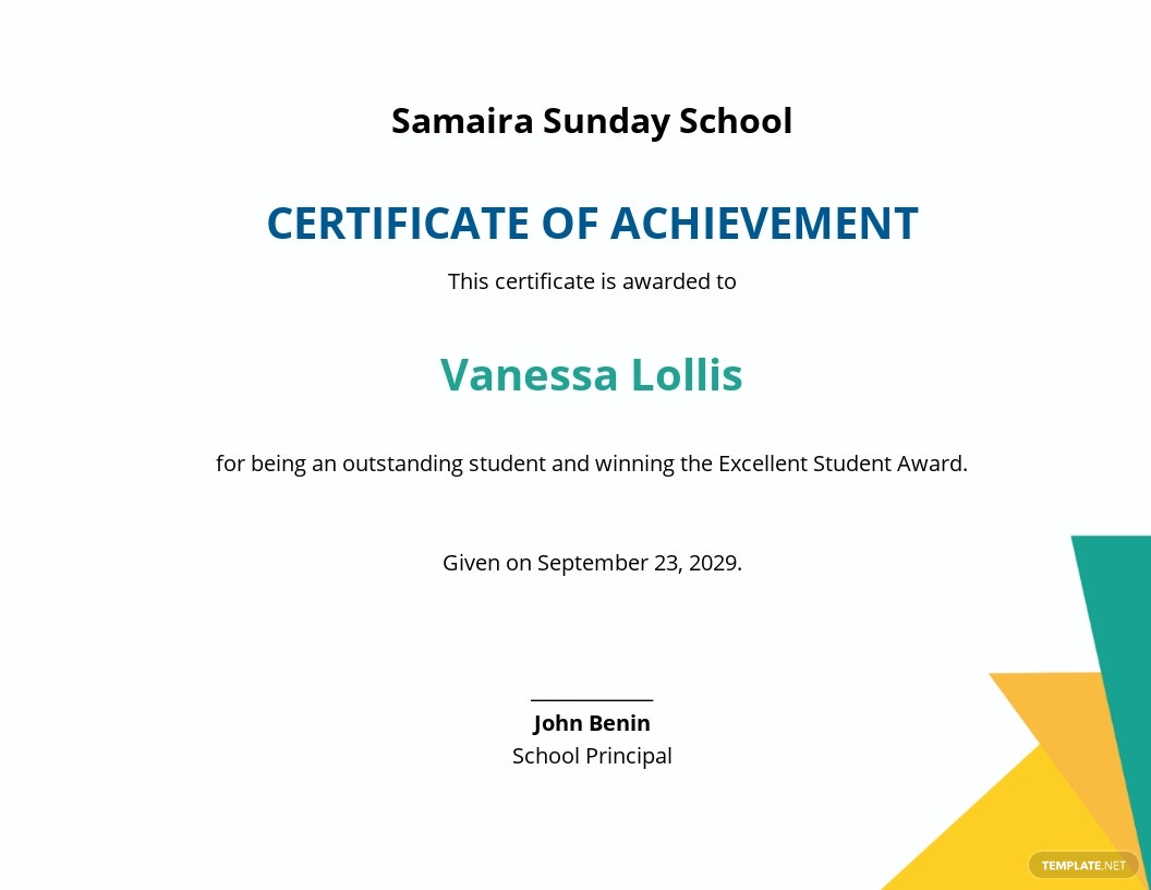 Sunday School Certificate Template