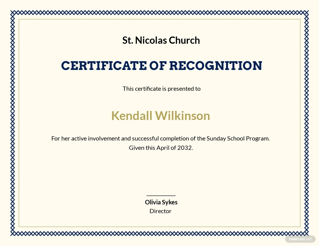 Sunday School Achievement Certificate Template
