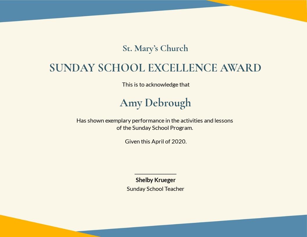 Sunday School Award Certificate Template