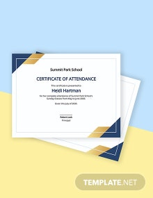 Sunday School Student Certificate Template