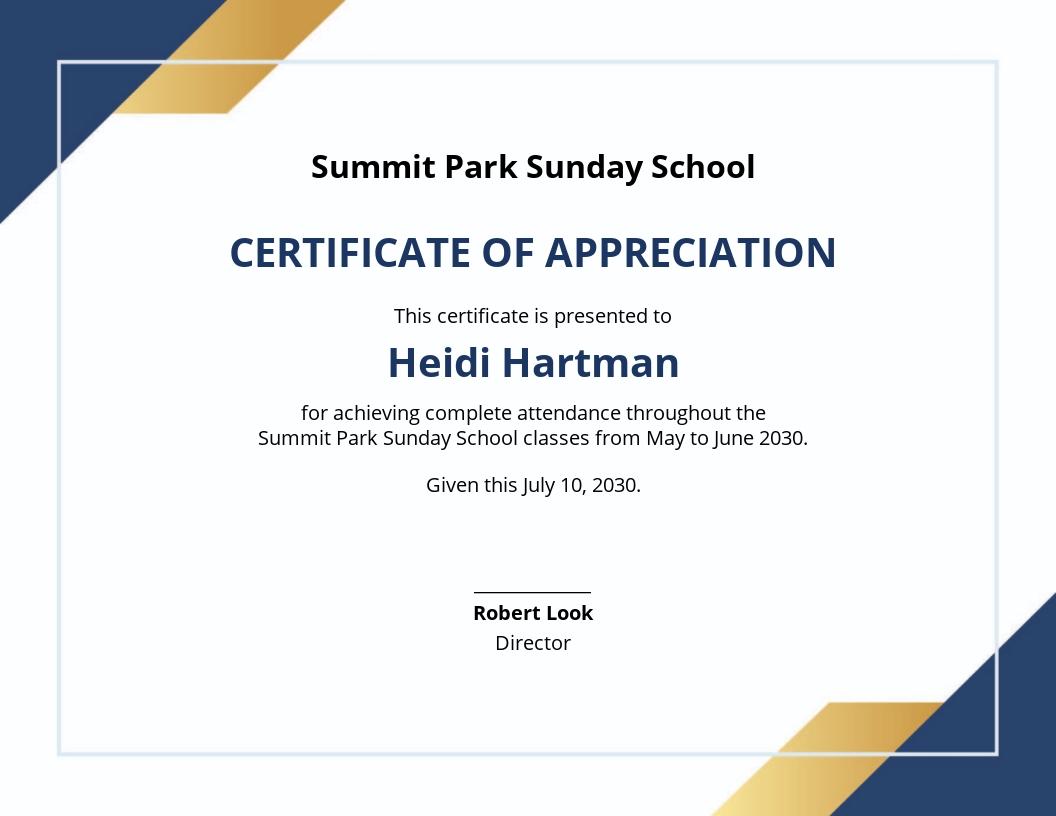 Sunday School Student Certificate Template