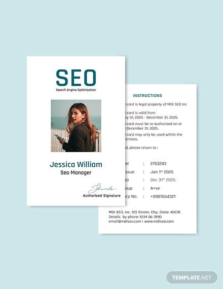Sample SEO Identity Card