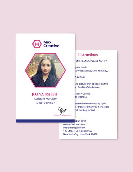 Sample Creative Agency ID Card