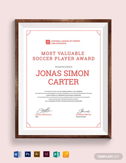 Soccer Certificate Template | Soccer Certificate Template Download 204 Certificates In Adobe