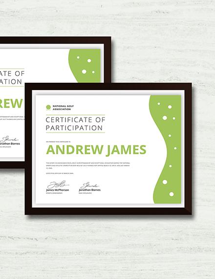 Sample Sports Certificate
