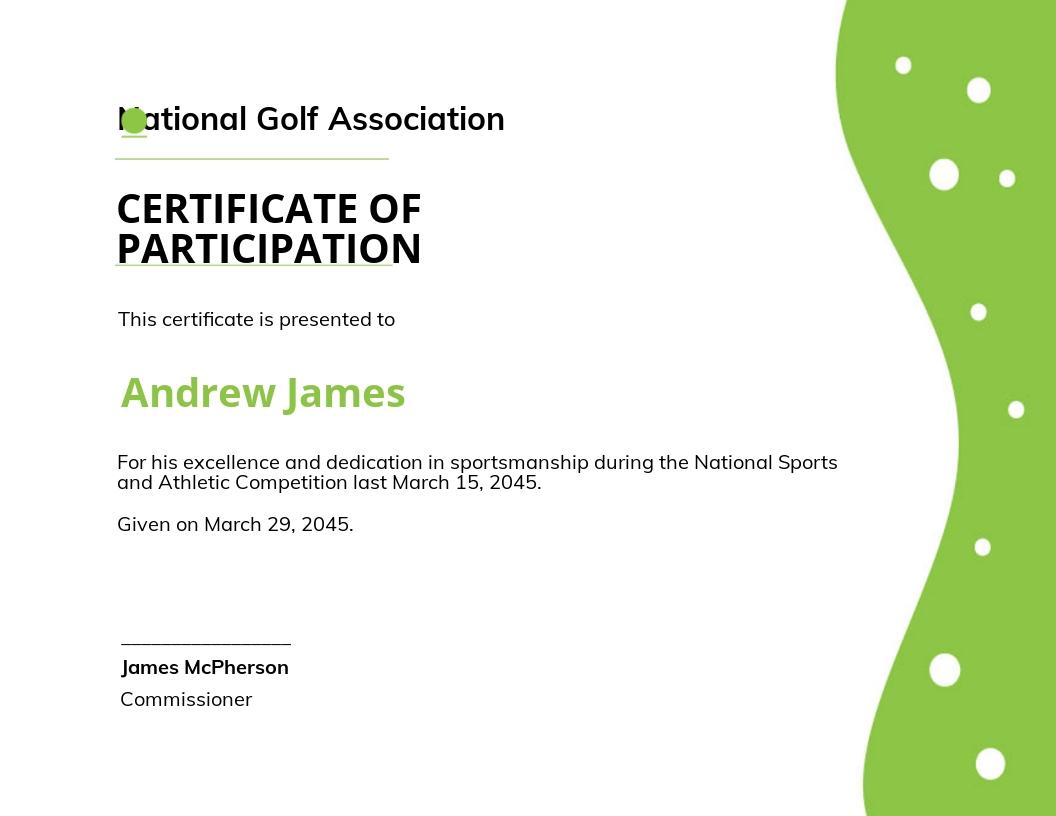 Sports Certificate Template