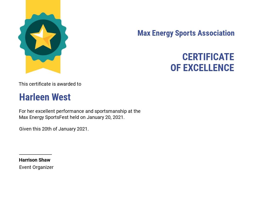 Sports Award Certificate Template