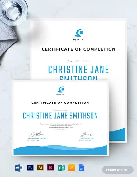 Swimming Certificate of Completion Template