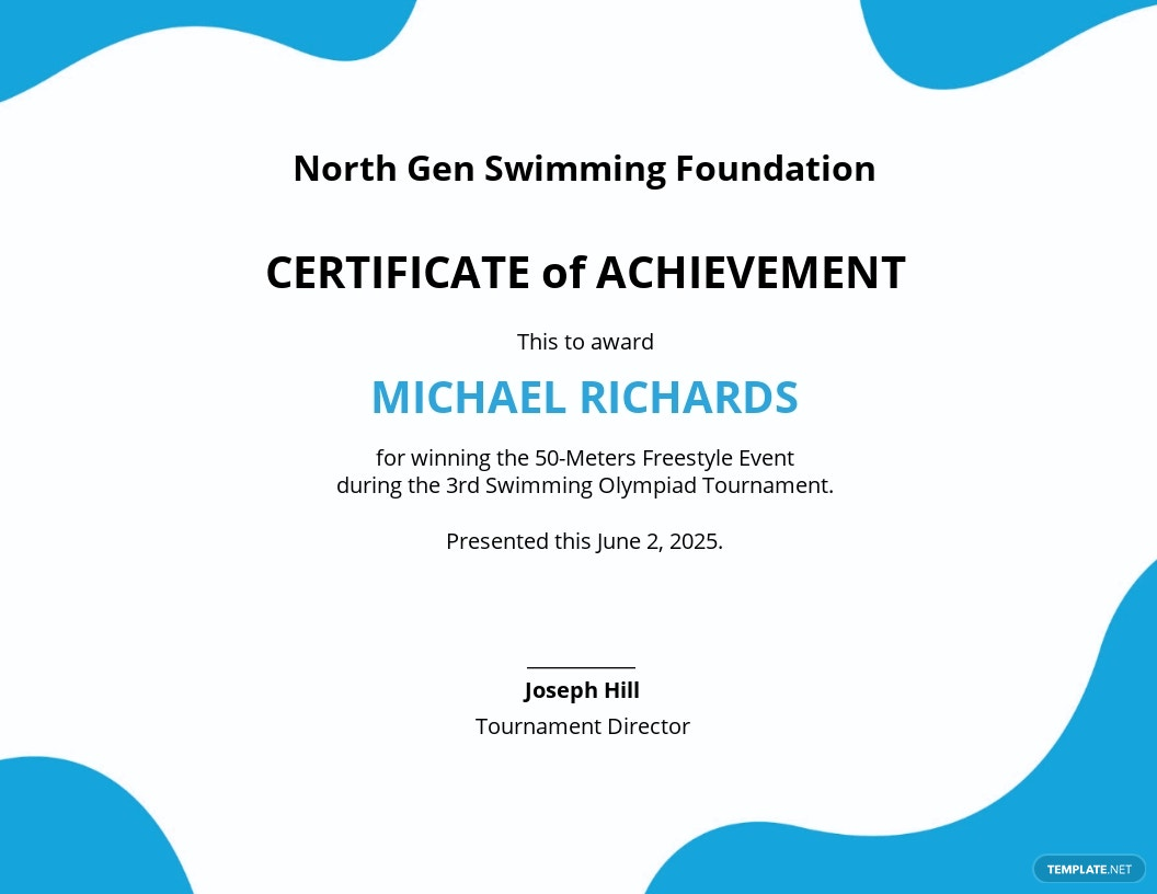 Swimming Certificate of Performance Template