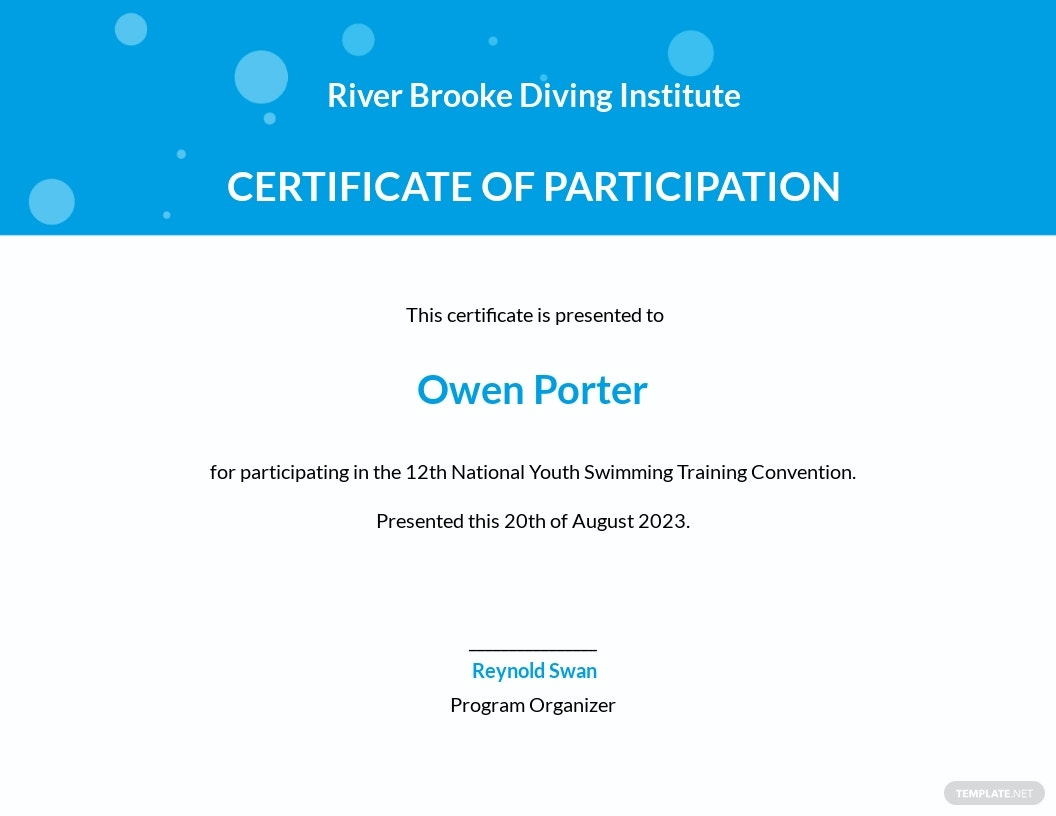 Swimming Participation Certificate Template