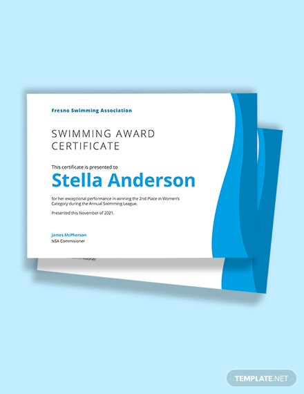 Swimming Certificate Template