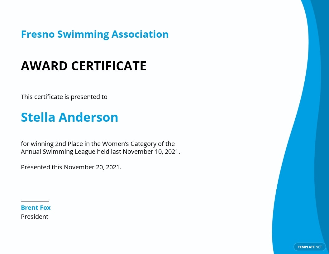 Swimming Certificate Template.jpe