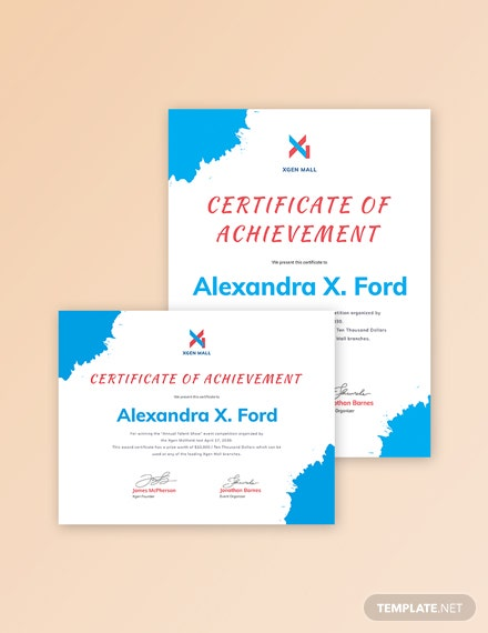 Talent Show Certificate of Achievement Template