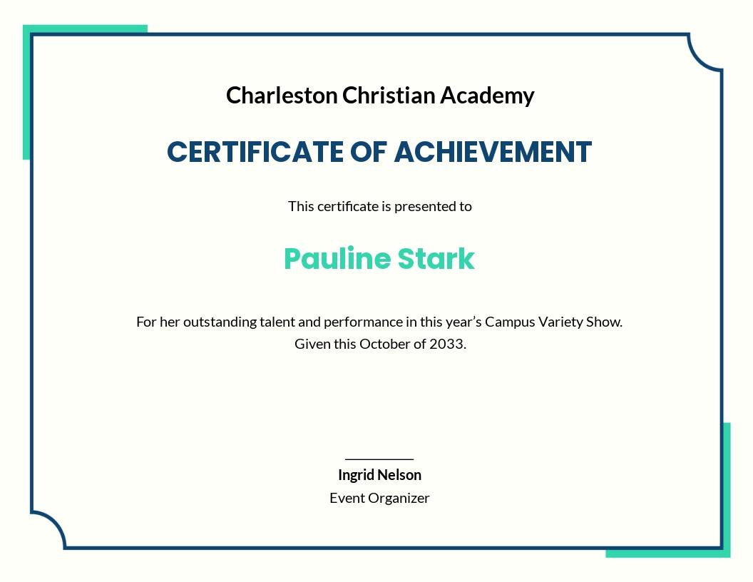 Talent Show Certificate of Achievement Template.jpe