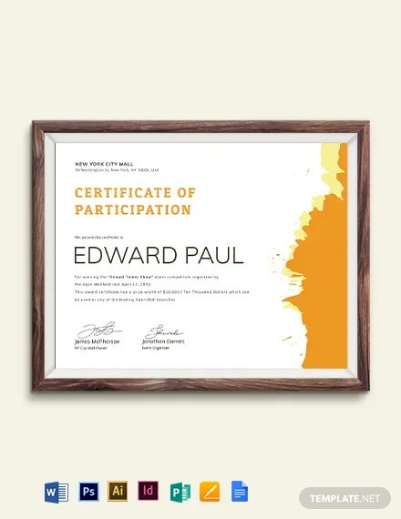 Talent Show Participation Certificate Template