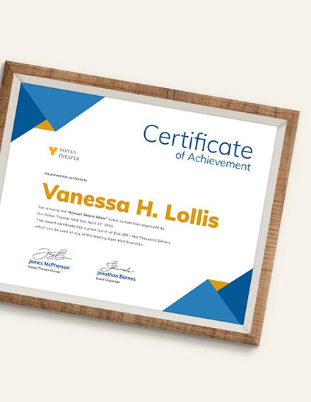 Sample Talent Show Award Certificate