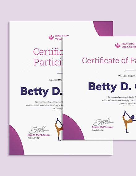 Sample Creative Yoga Certificate