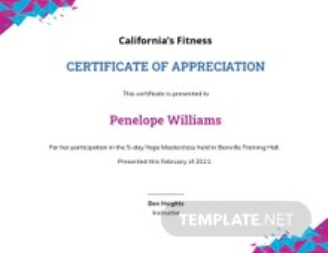 Modern Yoga Certificate Template