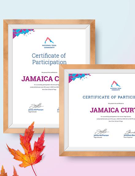 Sample Modern Yoga Certificate