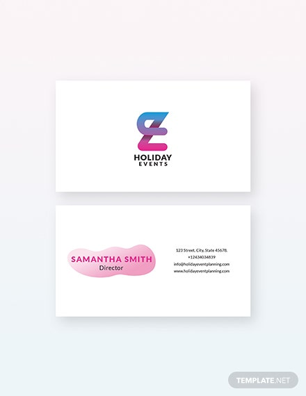 Sample Event Planner Business Card