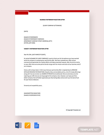 Free Business Partnership Rejection Letter