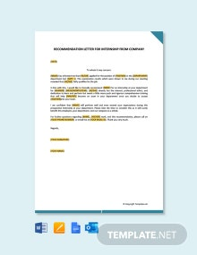 Free Recommendation Letter for Internship from Company