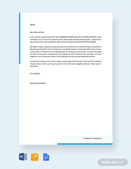FREE Thank You Letter to Parents from Daughter Template: Download