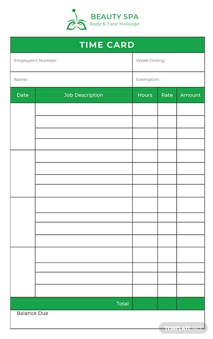 FREE Time Card Template - PDF | Word (DOC) | Excel ...