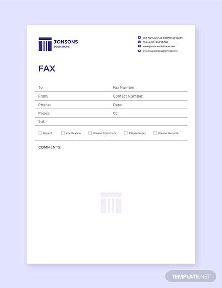 Law Firm Fax Paper Template