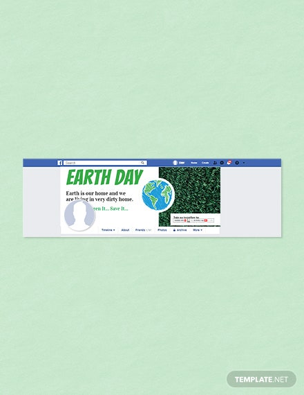 Free Earth Day Facebook Cover Template