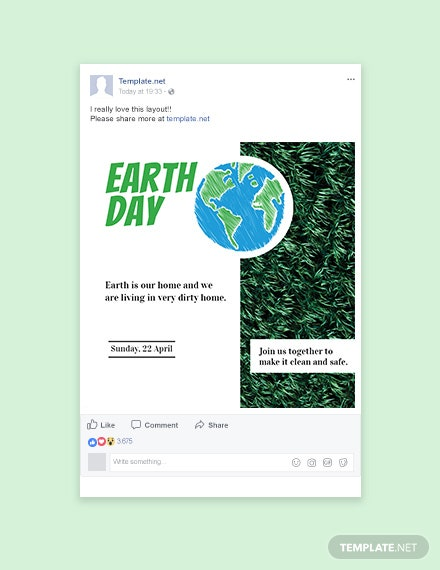 Free Earth Day Facebook Post Template