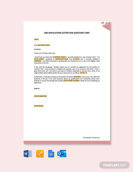 Free Job Application Letter for Assistant Chef