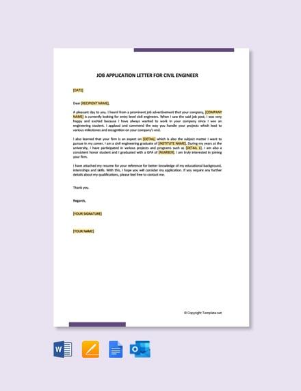 Job Application Letter for civil Engineer Fresher