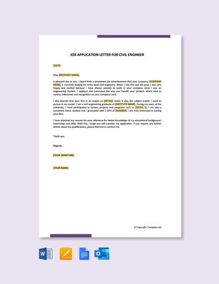 Free Job Application Letter for civil Engineer Fresher