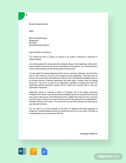 FREE Job Application Letter for Fresher Engineer Template ...