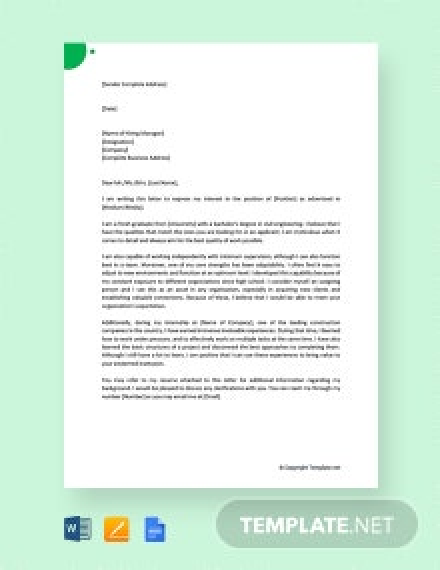 Free Job Application Letter for Fresher Engineer