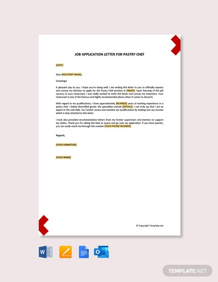 Free Job Application Letter for Pastry Chef