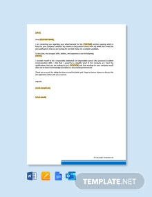 Free Job Application Letter to HR Manager