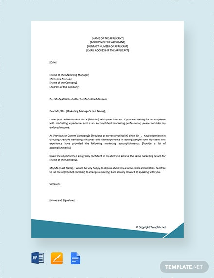 Free Job Application Letter to Marketing Manager