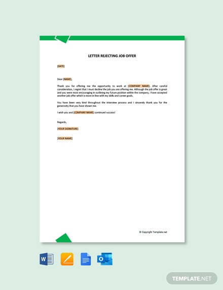 Free Formal Rejection Letter For Job Offer