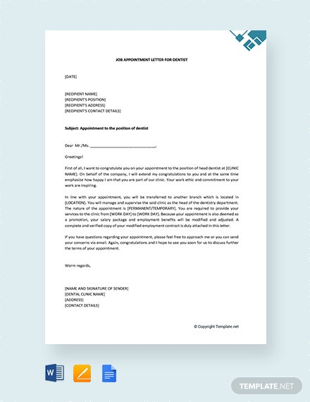 Free Job Appointment Letter for Dentist