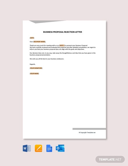 Free Professional Business Rejection Letter